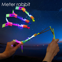 led flying arrow fly Rocket LED Light Flash Toy Amazing arrow Helicopter Rubber Band Catapult Flying outdoor Party Kid Toy Funny(China)