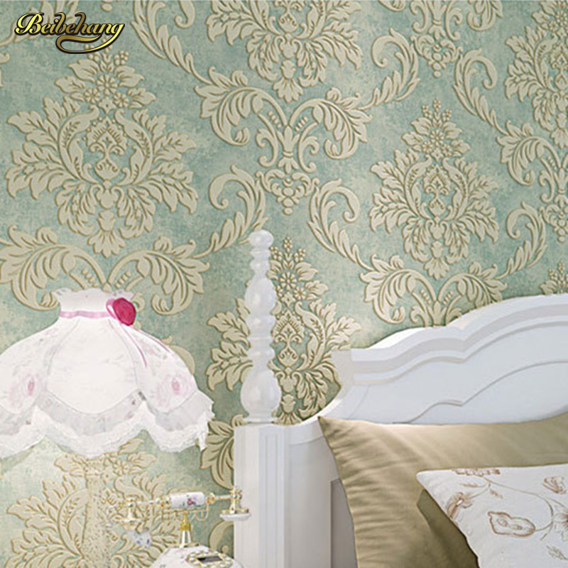 beibehang European-style large flower three-dimensional relief Damascus wallpaper thicker 3D flocking non-woven background wall<br>