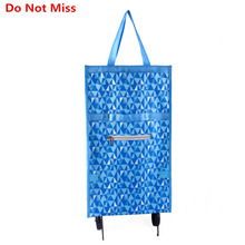 Do Not Miss Folding Portable Shopping Bags High Capacity Shopping Food Organizer Trolley Bag on Wheels Bag Buy Vegetables Bag(China)