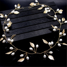 Pearls Gold Leaves Sweet Wedding Bridal Headband Bride headpieces Bridesmaid Hair Headdress