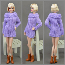 Purple Color Doll Accessories Knitted Woven Handmade Tops Coat Dress Clothes Sweater For Barbie Doll Gifts For Girls Kids Toy