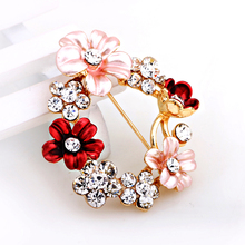 Costume Jewelry Brooches AAA CZ New  Myosotis Circle Flower Brooches for wedding dress /party/daily life
