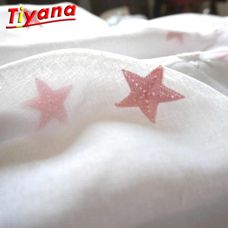 Children Decorative Curtain Star Embroidery White Linen Tulle Curtains For Living Room Pink Star Sheer Drapes For Bedroom 159#30