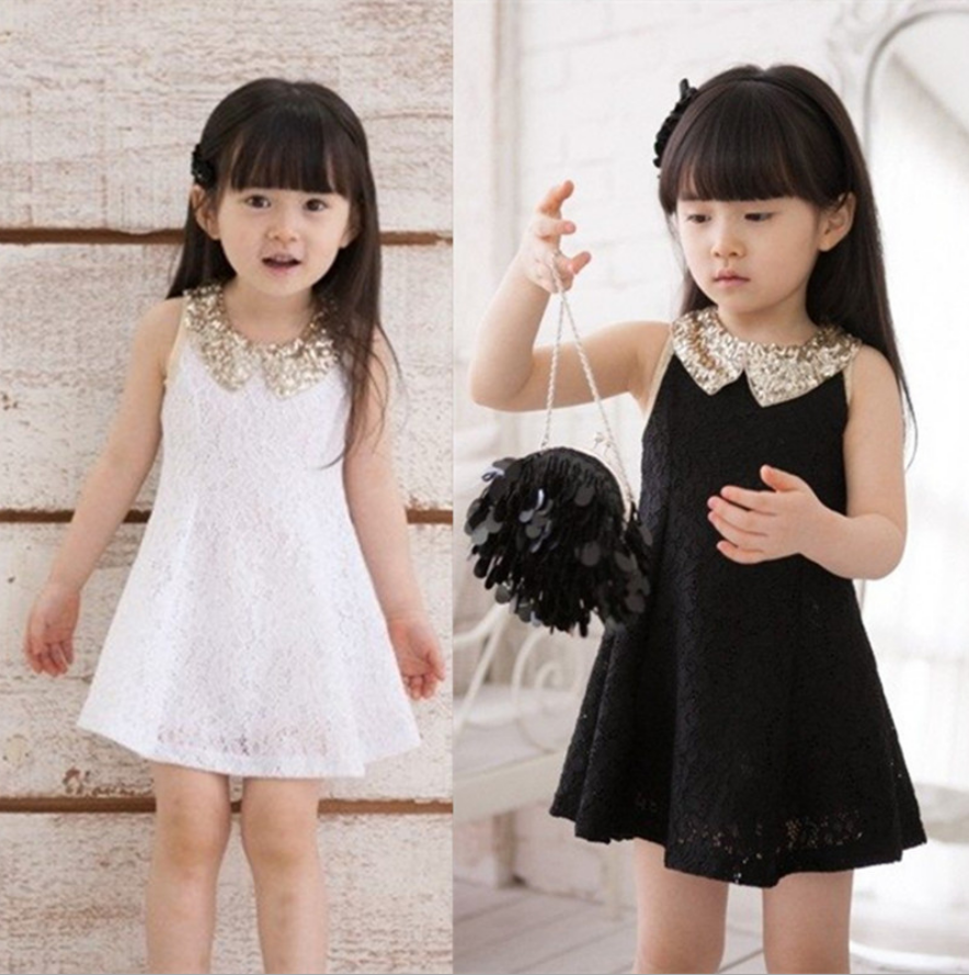 Children Princess Jumper Skirt Ribbon At Back Lace Sleeveless Elegent Girls Dress Paillette Turn-down Collar <br><br>Aliexpress