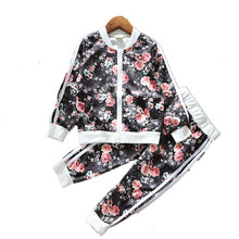 2017 Fashion Girl's Clothing Sets Autumn Baby Girl Tracksuits Flower Printed Zipper Jacket Coat+trousers Kids Boys Sport Twinset(China)
