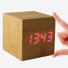 Hot Sale Multi-function Retro Fashion vintage Digital LED Wood Square Cube  Desk Shelf Sound Control Alarm Clock home decor