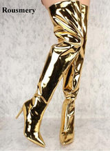 Women Sexy Pointed Toe Gold Silver Mirror Patent Over Knee High Heel Boots  Shining Thin Heel e3a22d8f1869