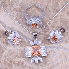 Unusual Champagne Morganite White CZ Silver Jewelry Sets Earrings Pendant Ring Size 6.5 - 9  S0115