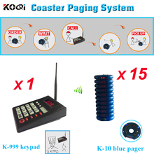 Free shipping Queue system, wireless pager system 15pcs blue round buzzer with one numeric keyboard