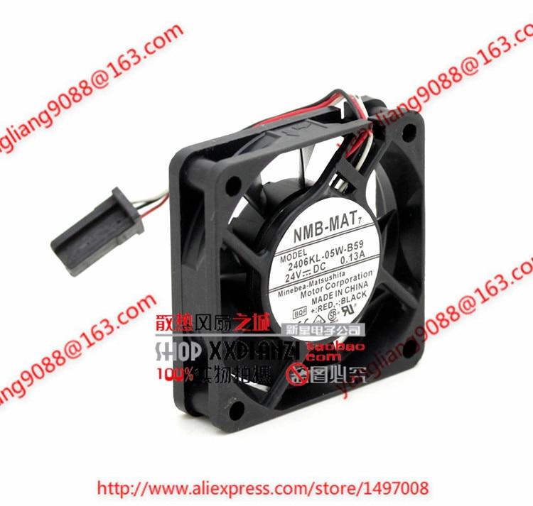 NMB-MAT 2406KL-05W-B59, BQF DC 24V 0.13A, 60x60x15mm  50mm Server Square  fan<br>