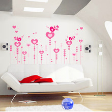 1 set Loving Heat Pink Flower Removable Art Decal DIY Wall Decor for Bedroom Home Wall Sticker 80*115CM Large(China)