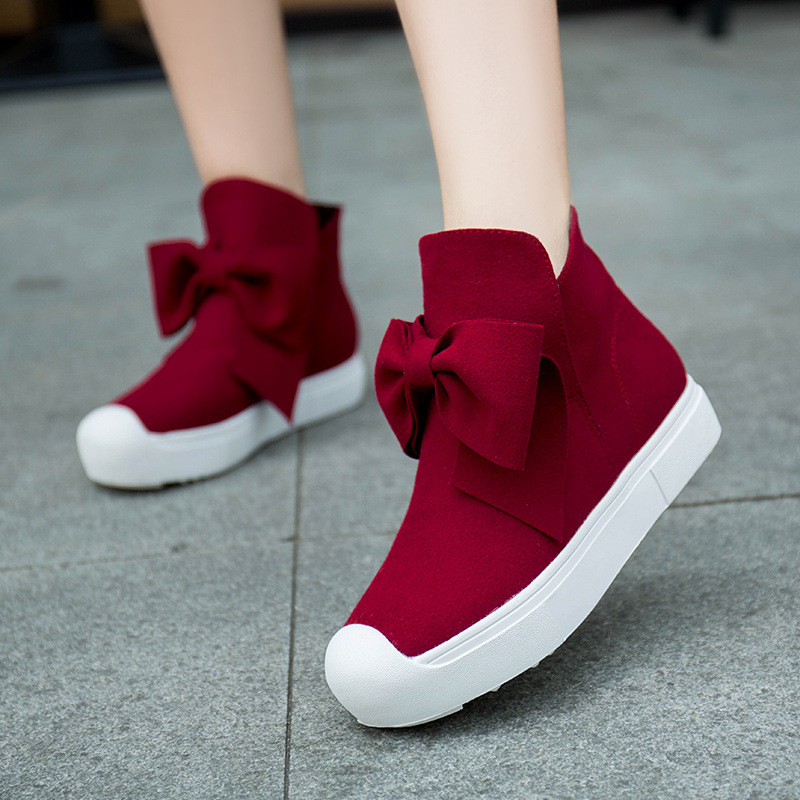 2017 Autumn and Winter Women Fashion Shoes Butterfly Knot Flat Bottomed Short Boots Casual Flat  Single Boot Thick Ankle Boots<br><br>Aliexpress