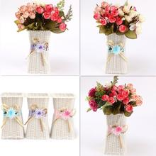 Artificial Rattan Square Flower Vase Roses/Fruits/Candy Storage Basket Garden Wedding Party Decoration Gift Wholesale
