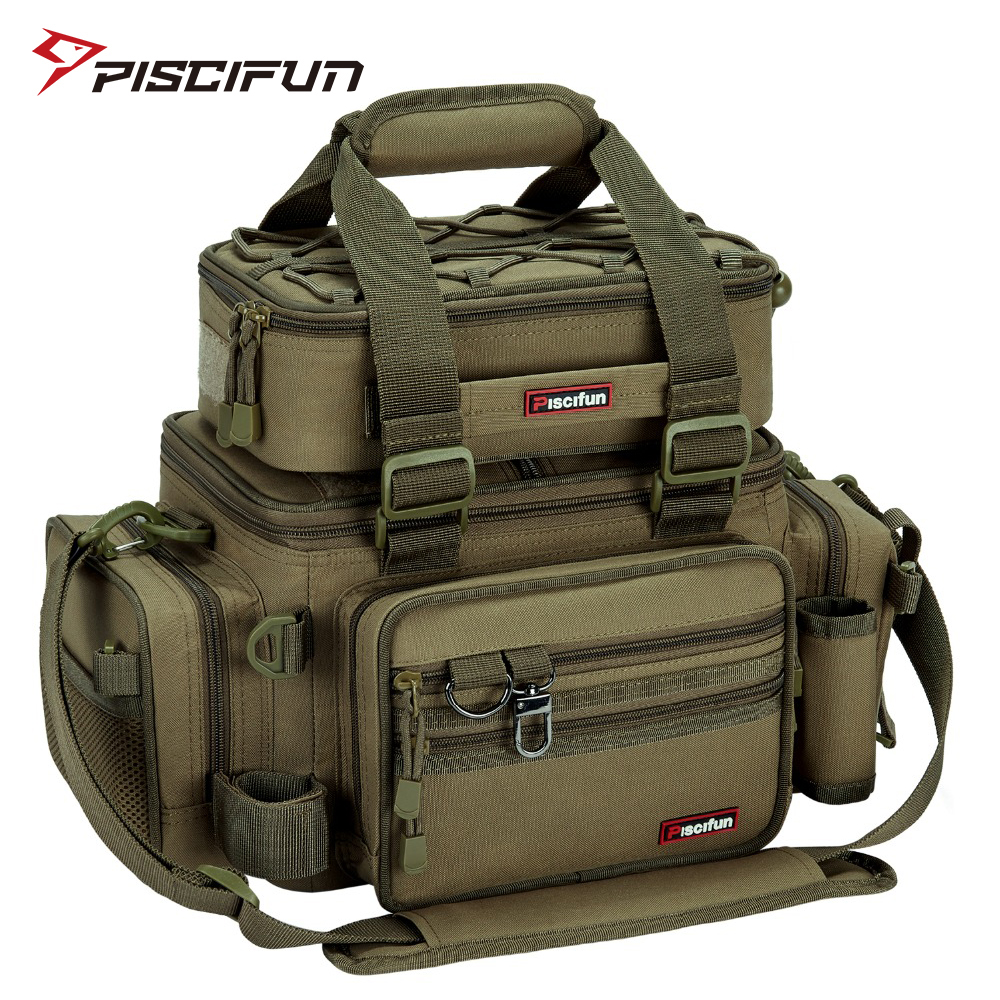 Piscifun Large Capacity Fishing Bag Portable Multifunctional Tackle Box Bag Multipurpose Outdoor Hiking Camping Bolsa De Pesca title=