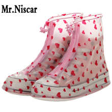 Women Flat Waterproof Shoe Covers Thicken Wearable Rain Shoes Covers Outdoor Travel Shoescovers Red Heart(China)