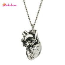 AOLOSHOW Three-dimensional 3D Science Stainless Steel Silver Tiny Anatomical Heart Necklace Maxi Necklaces Jewelry Women NL25846(China)