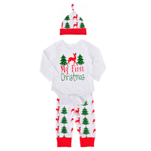 Buy Baby Girls Clothing Sets Cute First Christmas Tree Rompers+Deer Pants+Hats 3pcs 2017 Autumn Cartoon Boys Clothes Outfits Set for $9.14 in AliExpress store