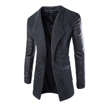 New Winter Fashion 2016 Leather Sleeve Long Wool Men Coat Hot Casual Slim Fit Men Jacket Coat Patchwork Solid Long Men Outwear(China)