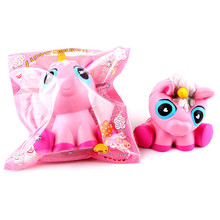 14cm Lovely Pink Unicorn Cream Scented Squishy Slow Rising Squeeze Toys Phone Charm(China)