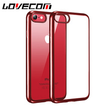 LOVECOM Phone Case For iPhone 6 6S 7 Plus New Transparent Soft TPU Electroplating Phone Back Cover Cases New Capa China Red!