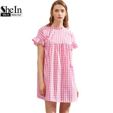 SheIn Pink Checkered Ruffle Sleeve Keyhole Tie Back Smock Dress 2017 Summer Dress Short Sleeve Cut Out Back Dress