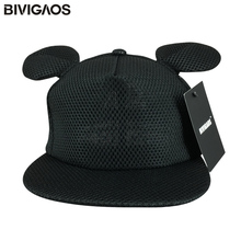 Summer New Fashion Women Black Lovely Sun Hats Cartoon Cute Mouse Big Ears Black Mesh Baseball Caps Female Gorras Snapbacks
