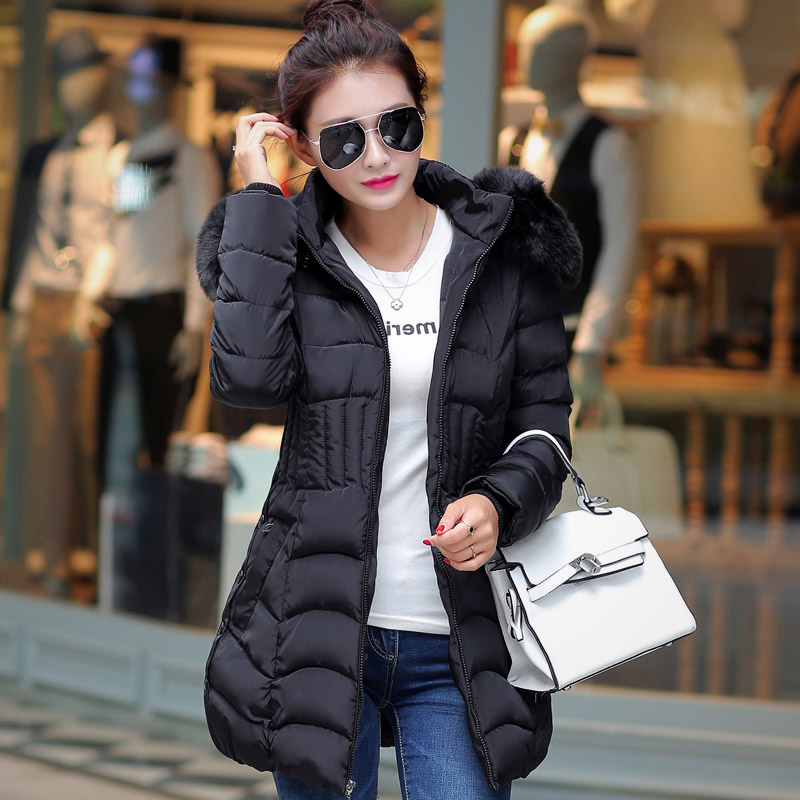 Mujer Winter Jacket Women Fur Hood Cotton Padded Coat In the long section cotton new female winter down jacket wool coat collarОдежда и ак�е��уары<br><br><br>Aliexpress
