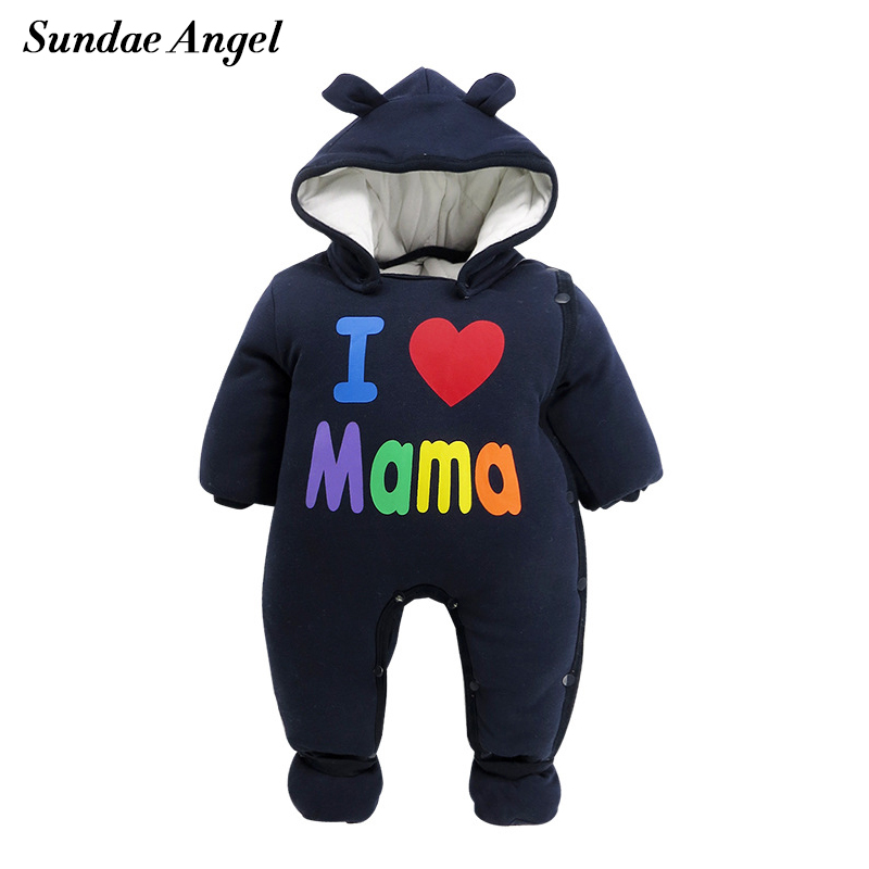 Sundae Angel Baby Footed Romper Hooded Collar Long Sleeve Cute Letter Winter Thicken For Kids baby costume Clothing<br>