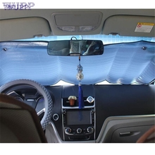 Auto car-styling car styling    1Pc Casual Foldable Car Windshield Visor Cover Front Rear Block Window Sun Shade mar07