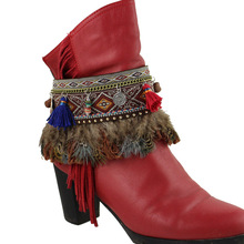 Boho Shoes Chain feather Anklets Boots Heel Chain Punk Ankle Multilayer Tassels Foot Jewelry Girl Bracelet(China)