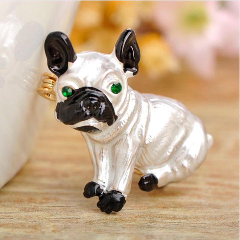Cute Pug Dog Brooches Green Crystal Eyes Animal Corsage Pins