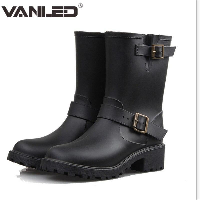 2017 New Shoes Woman Rain Boots Waterproof Double Barrel Martin Boots Mid-calf Boots Waterproof Rubber Women Rain Boots Casual <br><br>Aliexpress