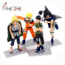 "4 pcs/set 10 cm 4"" Cartoon Naruto & Sasuke Anime Action Figure PVC Toys Kids Adult For Decoration Collection Model Gift P004(China)"