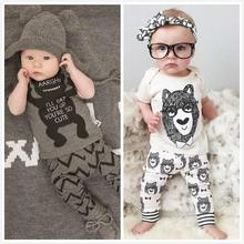 Retail 2017 summer style infant clothes baby clothing sets boy Cotton little monsters short sleeve 2pcs baby boy clothes(China)