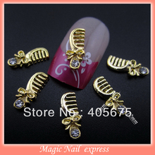 10pcs  gold metal nail art combs DIY arts nail accessories nail studs 3d charms MNS73
