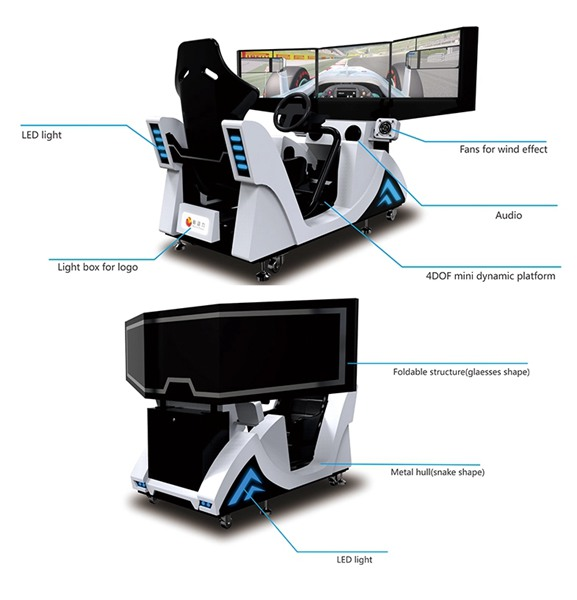 Three Screen Amusement Equipment Simulator Coin Operated Drive Car Racing Arcade Game Machine For Teenagers Adults