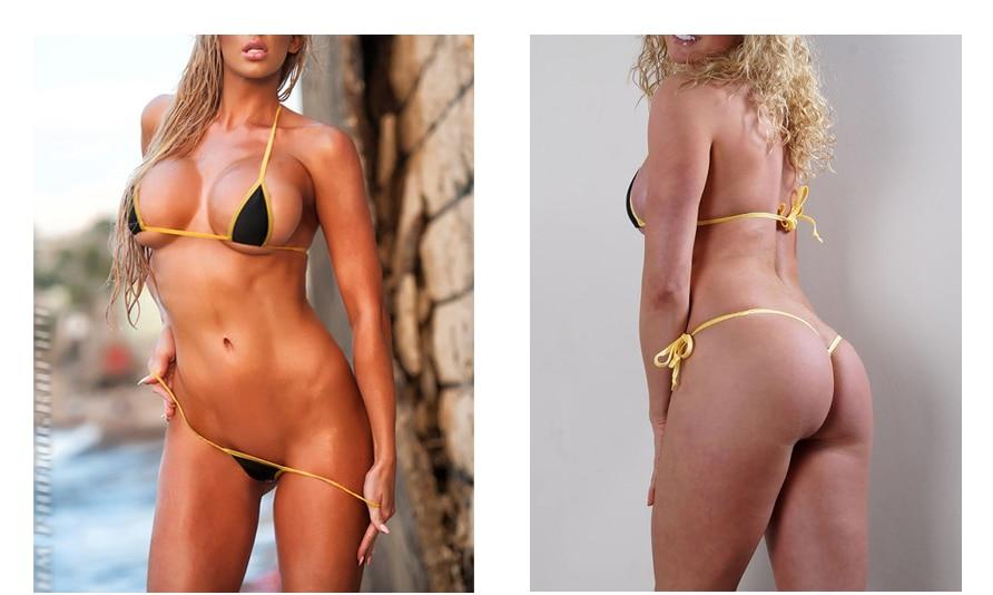 Solid Exotic Sunbath Mini Bikini Teardrop G-String Micro Bikinis Set 2Pcs Thong & Top Beach Swimwear Female Sex String Swimsuit 25