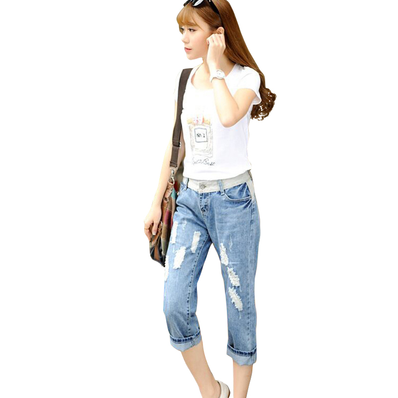 Summer Capris Women  Jeans 2017 Large Size Hole Ripped Slim Fit Female Spliced Denim Trousers Calf-Length Pants Cute GirlsОдежда и ак�е��уары<br><br><br>Aliexpress