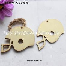 (50pcs/lot) 70mm Unfinished Blank Wooden Football Helmets Party Wedding Save Date Ornaments 2.8 inches -CT1339(China)