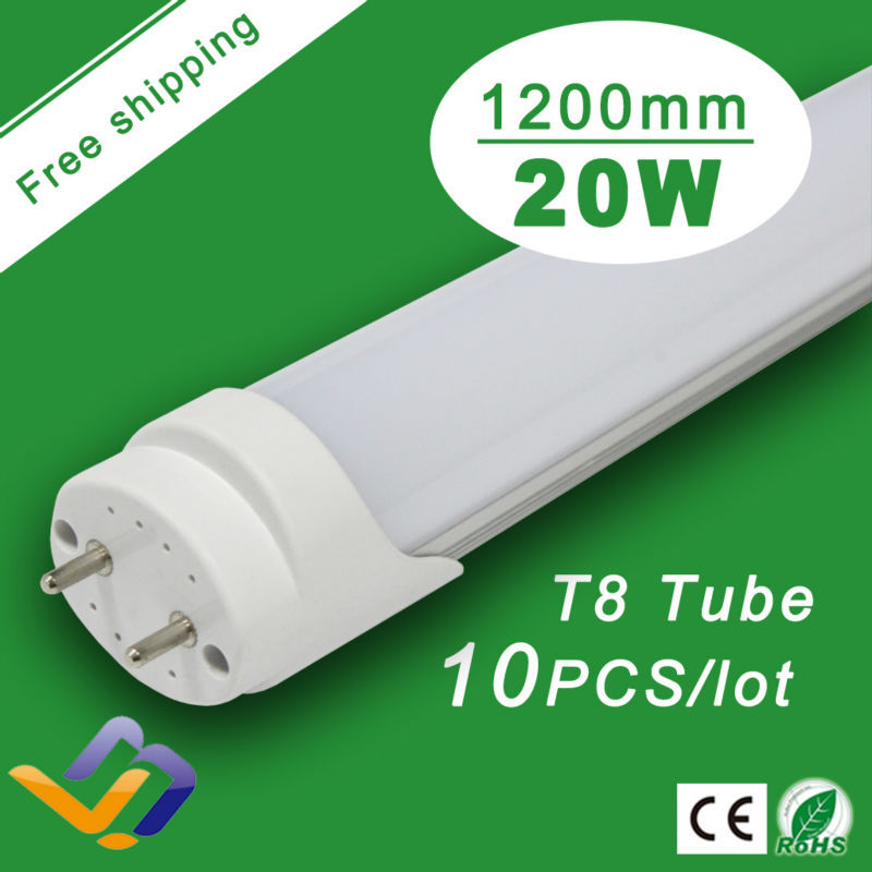 Free Shipping 10pcs/lot   Factory Wholesale 20W T8 1200mm Warranty 3 Years 85-265V  CE RoHS Super Bright LED Tube Lights<br><br>Aliexpress