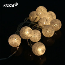 SXZM 1.3Meter 10 LED Cotton Ball led string light battery operated Decoration for Halloween Lighting Garden Party Christmas