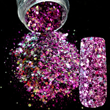 Dazzling Makeup Glitter Colored light Purple Nail Art Glitter Mix DIY Manicure 3D Dust Powder Clear Sequins Nail Products 258