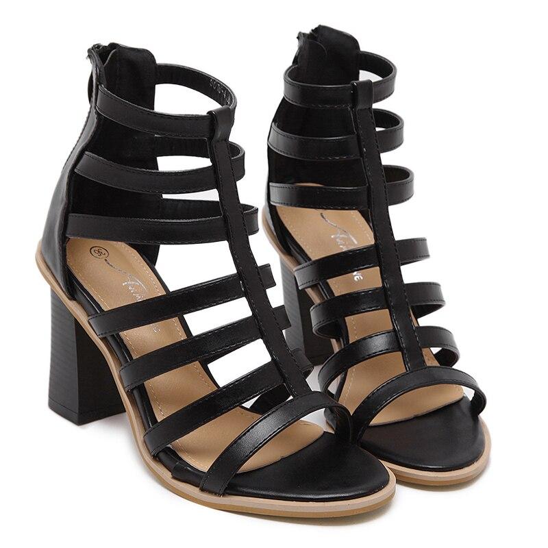 Brand Shoes Womens Shoes Summer Gladiator Sandals Women Sexy Ankle Strap High Heel Sandals Black Zipper Sandals Women Heels<br><br>Aliexpress