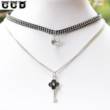 CCD Ladyfirst 2017 Hot Sale Boho Collar Choker Drop Crystal Bead Key Necklace &pendant Charm Vintage Statement Bead Neck Jewelry