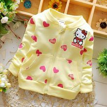 Retail 2016 new Baby girl Hoodies Coats Hello Kitty Cardigan Jackets clothes Children Kids sweatshirts