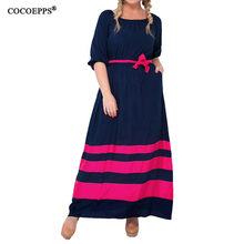 Buy 2017 Casual 4XL 5XL Autumn Women Long Dresses Plus Size Patchwork Lady Maxi Dress Half Sleeve 6xl Loose Fashion Sashes Vestidos for $16.98 in AliExpress store