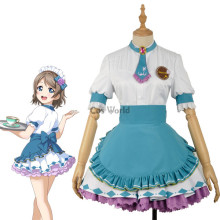 LoveLive!Sunshine!! Watanabe You Valentine's day Maid Apron Dress Uniform Outfit Anime Cosplay Costumes