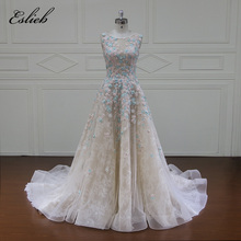 Buy Eslieb Custom made Vestido De Noiva SLeeveless Flowers Wedding Dresses 2018 Appliques Beaded Line Lace Bridal Gown Plus Size for $711.75 in AliExpress store