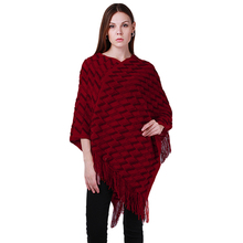 New Winter Women Knitting Sweater Ladies Tassels Poncho Long Knitted Pullovers Knitted Cape Sweaters BZ661591