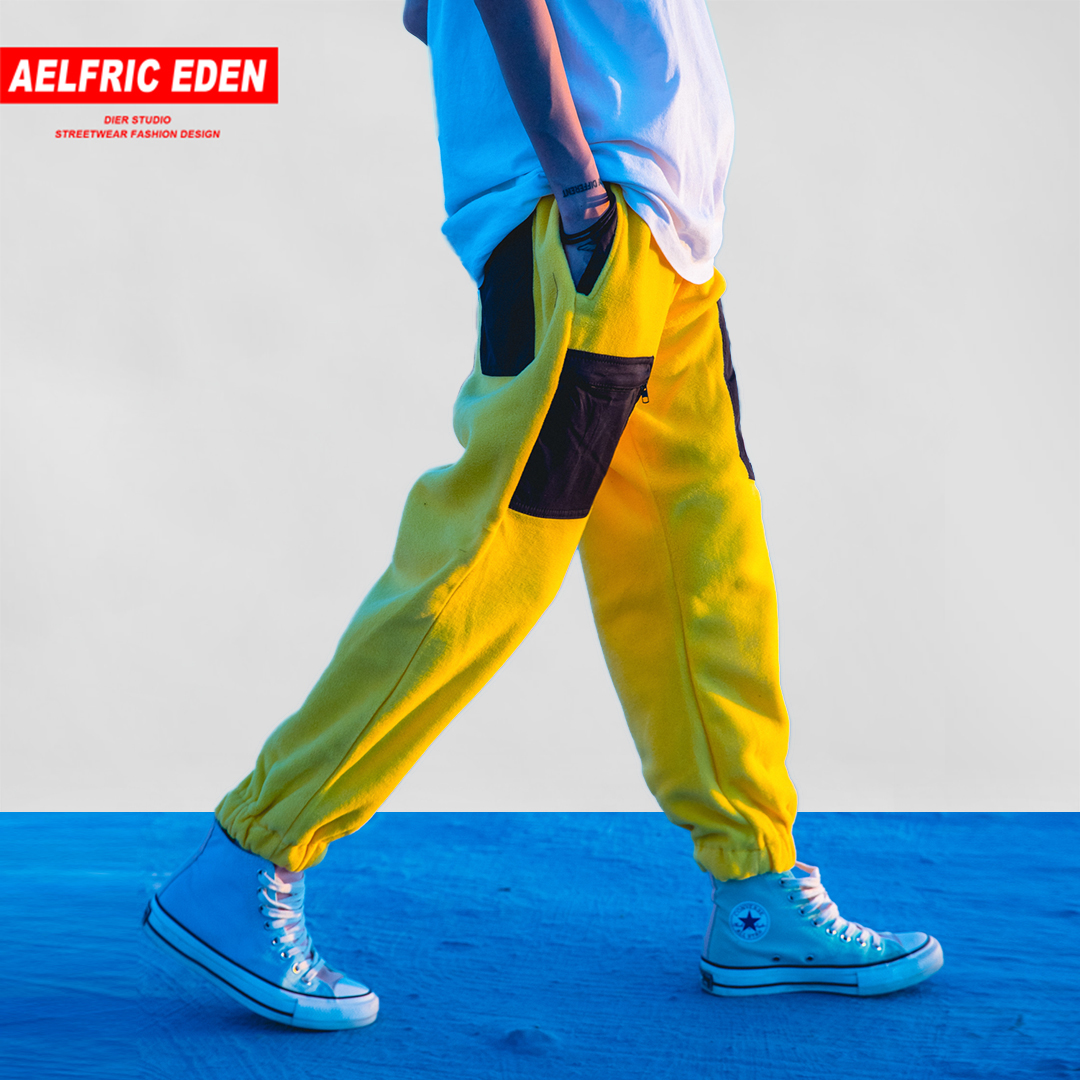 Aelfric Eden Patchwork Pockets Fleece Men Sweatpants Harem Pants 2018 Winter Warm Hip Hop Casual Male Trousers Streetwear Mt27